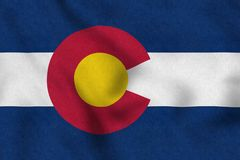 USA Flag of Colorado gently waving in the wind stock illustration