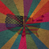 USA Flag  on Colorful Rays Textured Background Royalty Free Stock Images
