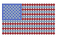 USA flag composed of different color brilliants. Flag of the USA composed of different color brilliants. High resolution 3D image Stock Photos