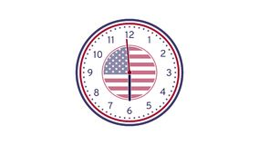 USA Flag Concept Wall Clock Animation Loop. On White Background stock video