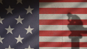 Usa Flag on Concrete with Thinker and Gate Shadow Royalty Free Stock Image