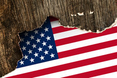 USA flag on Crumpled paper texture Royalty Free Stock Photos