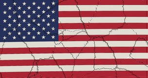 USA Flag crushed and cracked Stock Images