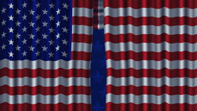 USA Flag Curtain Background Animation Loop With Al. Animation of American flag curtains. Contains matte channel. Animation seamlessly loops starting at 7 seconds stock video footage