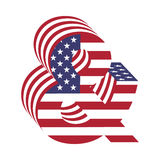 USA flag 3d abc letter ampersand. Textured font Stock Photography