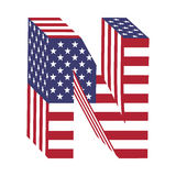 USA flag 3d latin alphabet letter N. Textured font Royalty Free Stock Image