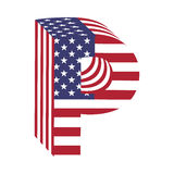 USA flag 3d latin alphabet letter P. Textured font Royalty Free Stock Images