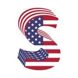 USA flag 3d latin alphabet letter S. Textured font Royalty Free Stock Image