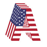 USA flag 3d latin alphabet letter A. Textured font Royalty Free Stock Photo