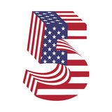 USA flag 3d latin alphabet number 5. Textured font Royalty Free Stock Photography