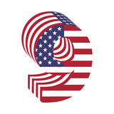 USA flag 3d latin alphabet number 9. Textured font Royalty Free Stock Image
