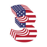 USA flag 3d latin alphabet number 3. Textured font Royalty Free Stock Images