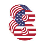 USA flag 3d latin alphabet number 8. Textured font Stock Photo
