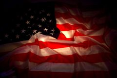 USA flag in the dark Stock Photo