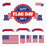 USA Flag day badge, banners and ribbons Royalty Free Stock Photography