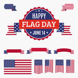 USA Flag day badge, banners and ribbons Stock Images