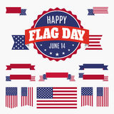 USA Flag day badge, banners and ribbons Stock Photo