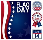 USA Flag Day Set. Collection for the USA Flag Day, a United States federal holiday celebrated every year on June 14, including a stars and stripes background, a royalty free illustration