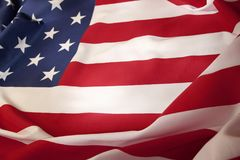 USA flag detail. Closeup of rippled American flag Royalty Free Stock Photo