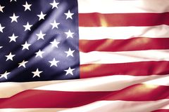 USA flag detail. Closeup of rippled American flag Royalty Free Stock Images