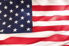 USA flag detail. Closeup of rippled American flag Stock Photography