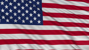 USA flag develops slowly in the wind. Loop animation stock video footage