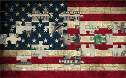 Usa flag and dollar Stock Images