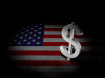 Usa flag with dollar sign. Shining Dollar symbol with USA flag 3d illustration Royalty Free Stock Photos