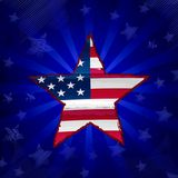 USA flag in drawing star over blue rays Stock Photos