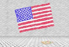 USA flag drawn on a gray brick wall with chalks Stock Photography
