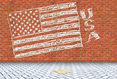 USA flag drawn on a red brick wall with a chalk Royalty Free Stock Photo