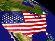 USA with flag on Earth Stock Photo
