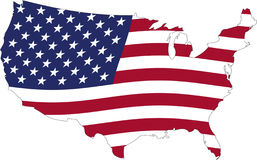 USA flag. In the EEUU maps Royalty Free Stock Photos