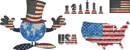 USA Flag Elements Vector Collection royalty free illustration