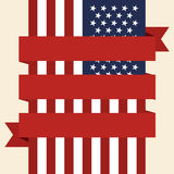 USA flag with empty ribbon. Vector illustration Royalty Free Stock Images