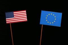 USA flag with European Union EU flag  on black Stock Photo