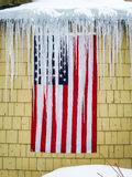 USA Flag Exposed To Bad Weather Royalty Free Stock Images