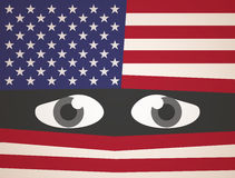Usa Flag Fear Eyes. Abstract Background royalty free illustration
