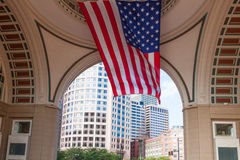 USA flag in The financial district of Boston - USA Stock Photo
