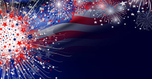 USA flag with firework background design. For USA 4 july independence day Stock Image