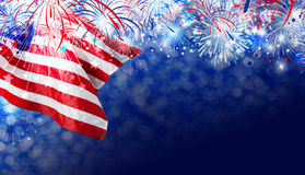 USA flag with firework background for 4 july independence day. With copy space Royalty Free Stock Images