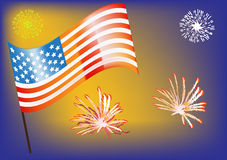 USA flag and firework illustration Royalty Free Stock Image
