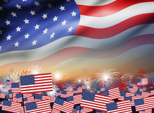 USA flag with firework at twilight background design. For 4 july independence day or other celebration Royalty Free Stock Photography