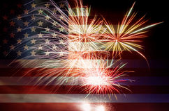 USA Flag with Fireworks stock photo