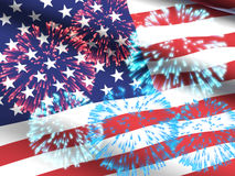 USA Flag with Fireworks Royalty Free Stock Photos