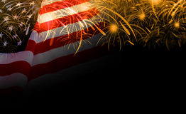 USA flag and fireworks background Royalty Free Stock Photo