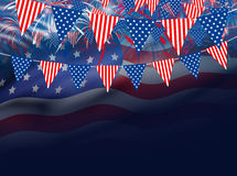 USA flag on fireworks background. With copy space Royalty Free Stock Image