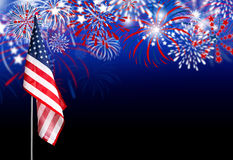 USA flag with fireworks background Royalty Free Stock Image