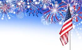 USA flag with fireworks background Stock Photos