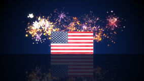 USA flag and fireworks on background Royalty Free Stock Photo